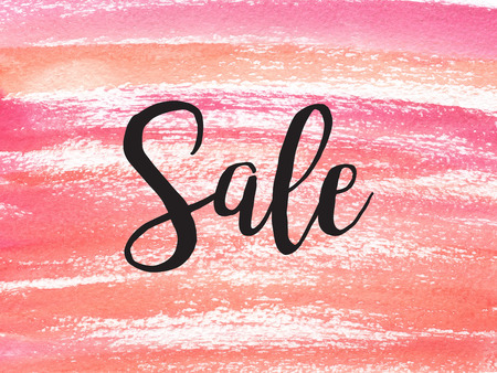 Hand drawn watercolor background. Hand painted colorful element for modern design. Sale banner.