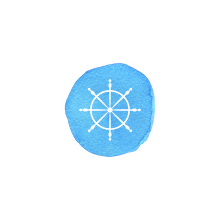Nautical icon. Steering wheel on watercolor turquoise background.  Paper texture. Standard-Bild