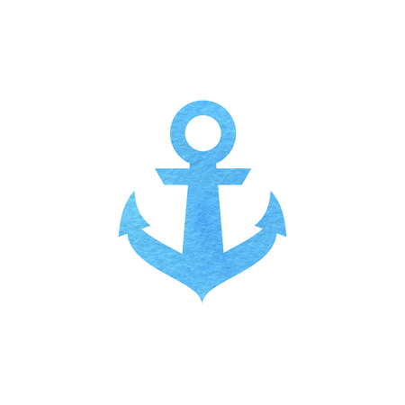 Logo in marine style. Watercolor blue anchor. Isolated in white background.