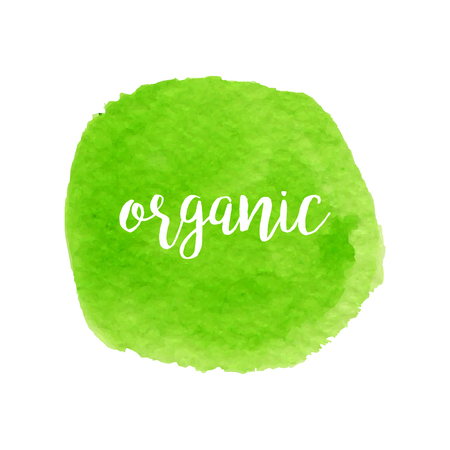 Green watercolor hand drawn circle with lettering. Organic design. Banner and stamp for eco design.