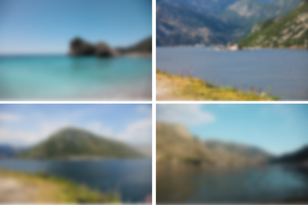 Set of four blurred photos of wonderful landscapes with mountains and sea Standard-Bild