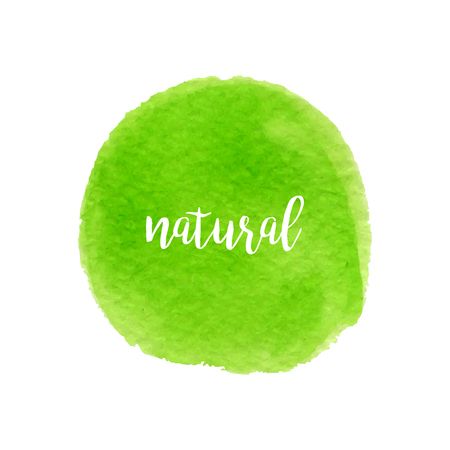 Green watercolor hand drawn circle with lettering. Natural design. Banner and stamp for eco design.