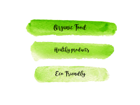 Set of watercolor green banners . Hand drawn painting with lettering. Template for modern design. Fresh green color.