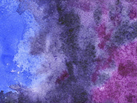 Watercolor background with paper texture. Space backdrop with blue and violet colors. Standard-Bild