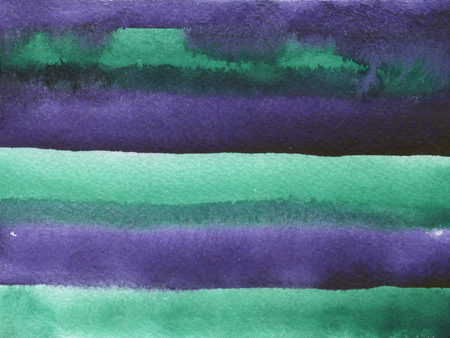 Watercolor background with paper texture. Violet and green horizontal stripes.