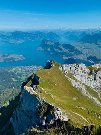 Breathtaking view of the Pilatus station in Swiss Alps Standard-Bild