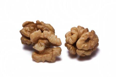 Walnut kernels isolated on white background. Close-up Banco de Imagens