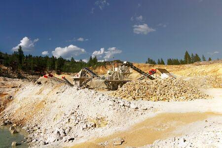 Stone crushers in quarry. Quarrying of stones