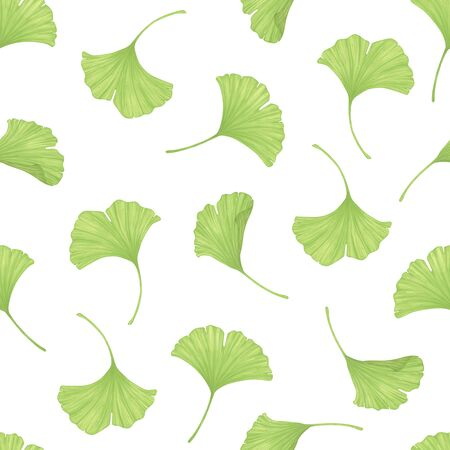 Leaves of Ginkgo Biloba. Nature background. Seamless pattern