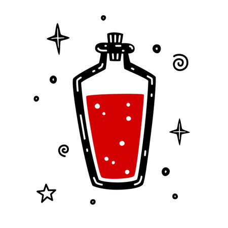 Bottle with poison or vial with magic potion. Halloween hand drawn vector illustration isolated on white background