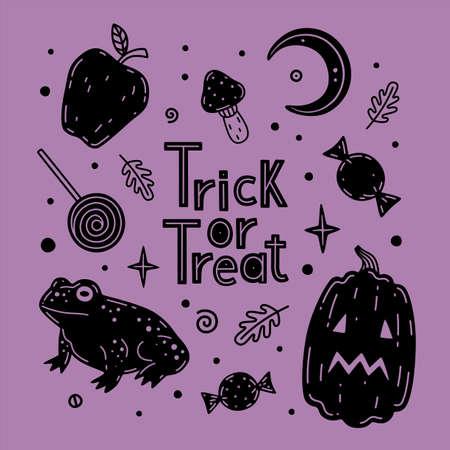 Pumpkin, mushroom, candies, apple, frog vector illustration. Halloween vector set. Collection of halloween attributes and symbols