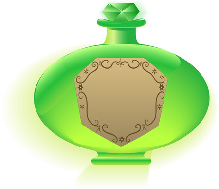 Green bottle of perfume with vintage label Vector