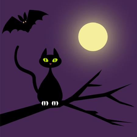 samhain: cat and bat in the moonlight