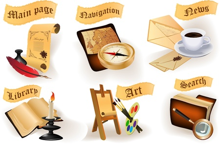 Antique icons collection for website Vector