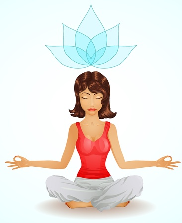 Beautiful brunette girl in meditation position Stock Vector - 11496975