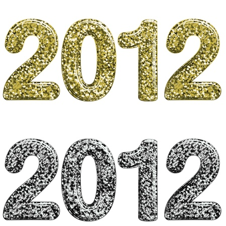 Two 2012 year made with glossy glitter Vector