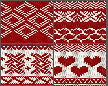 Set of seamless knitted swatches Vector