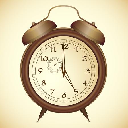 despertador: Vector icono de alarma de reloj antiguo de bronce Vectores