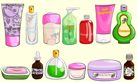 Collection of bath cosmetics Illustration