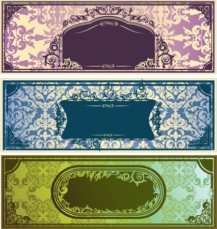 Three horizontal colorful banners with classic ornament Stock Vector - 11660485