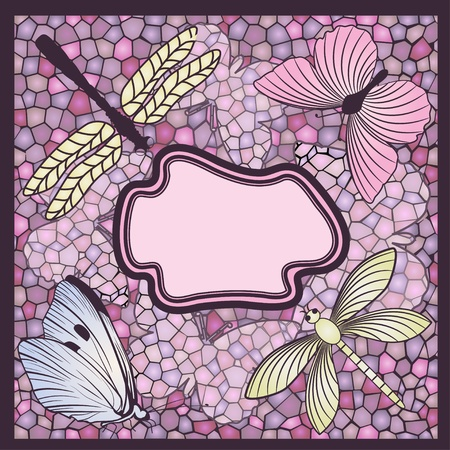 Mosaic card with butterflies and dragonflies Stock Vector - 11660542