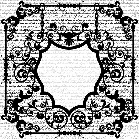 handwriting: Black and white wrought frame for your text