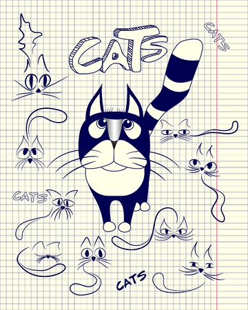 Stylized cats in different emotions