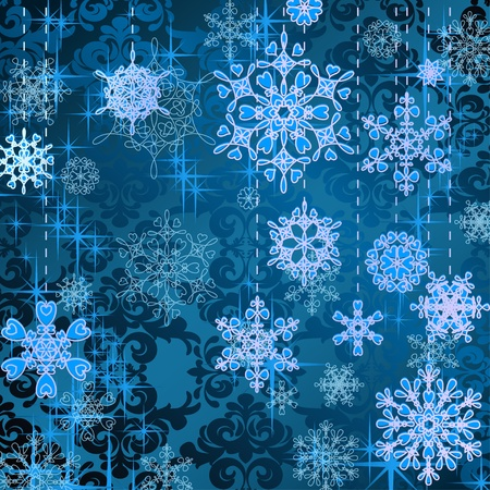 christmastide: Blue Christmas background with snowflakes