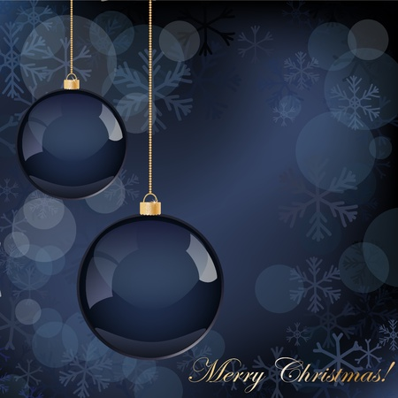 Christmas decorations background in dark blue color Vector
