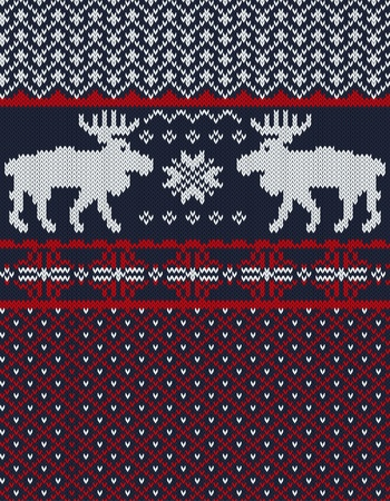 fair isle: Knitted background with Christmas deers and snowflake