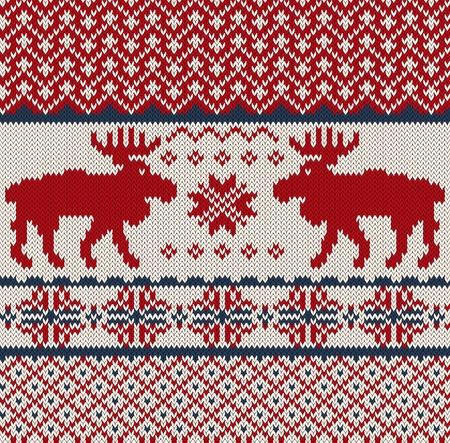 knitted background: De punto de fondo con la Navidad ciervos y copo de nieve Vectores