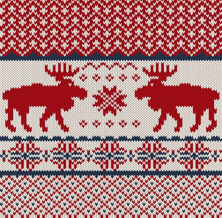 nordic country: Knitted background with Christmas deers and snowflake