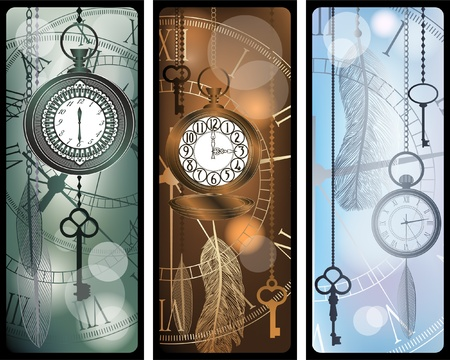 Vintage bookmarks with watches and feathers Stock Vector - 11660460