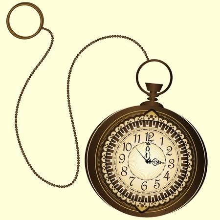 reloj antiguo: Vector icono de relojes de bolsillo con cadena de retro