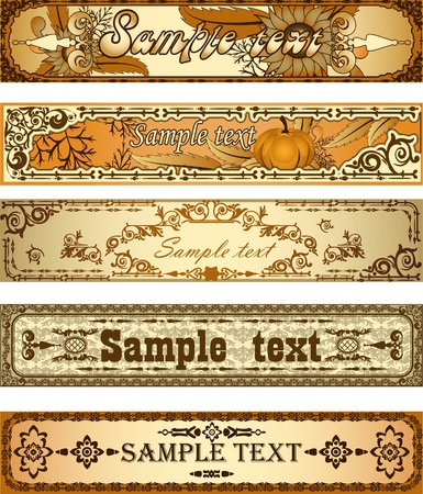 etiquette: Set of country style banners