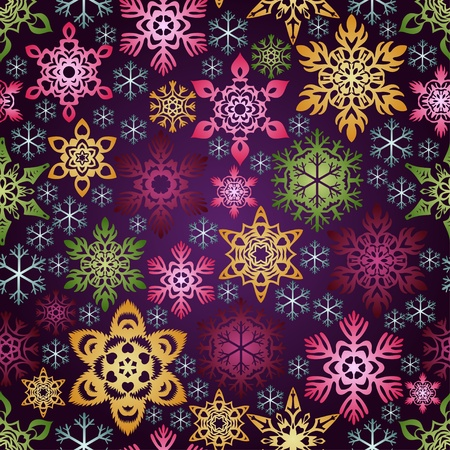 christmastide: Seamless background with colorful snowflakes Illustration