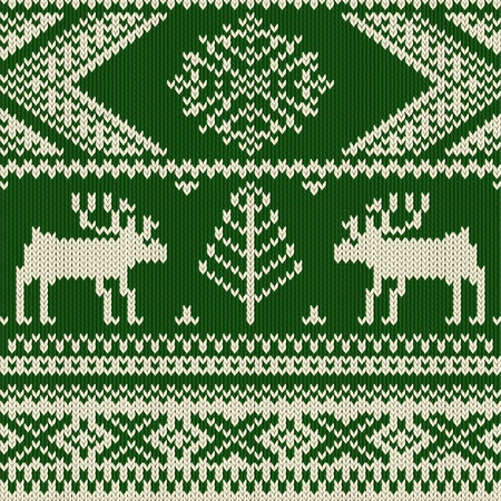 christmas plaid: Knitted swatch with deers and snowflakes pattern