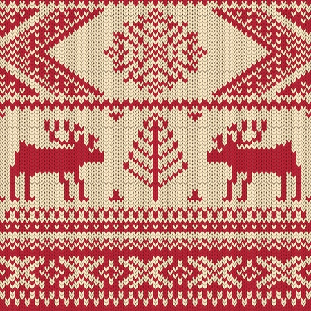embroidery on fabric: Knitted swatch with deers and snowflakes pattern