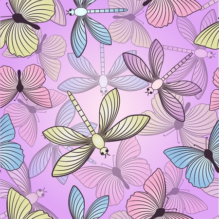 Seamless background with butterflies and dragonflies Vector