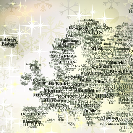 Europe silhouette made from capitals names on Christmas background with glittering snowflakes Vector
