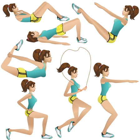 Beautiful girl making exercises Vector