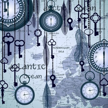 Antiker Hintergrund mit Karte und Uhren