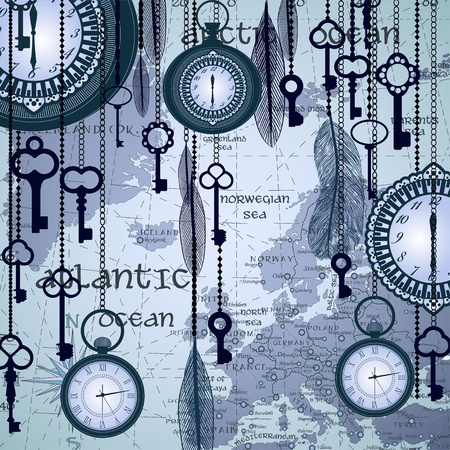vintage world map: Antique background with map and clocks Illustration