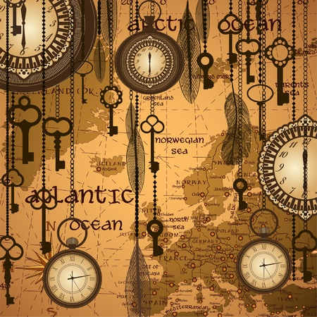 antique keys: Antique background with map and clocks Illustration