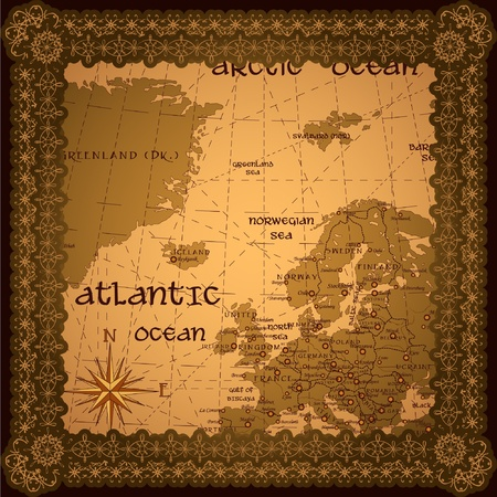 Antique background with map and frame Vector