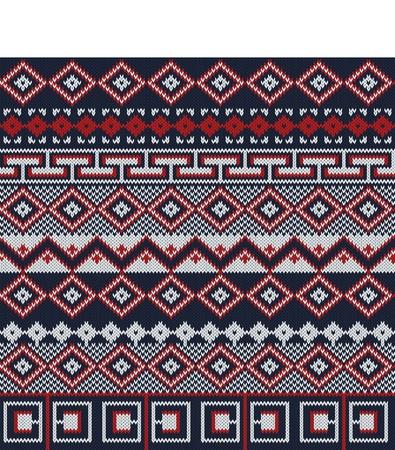 fair isle: Fondo in maglia stile Fair Isle in tre colori Vettoriali