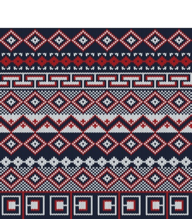 Knitted background in Fair Isle style in three colors Vector