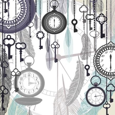 Vector de fondo de la vendimia con los relojes de bolsillo y las plumas
