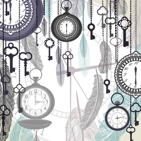 time square: Vintage vector background with pocket watches and feathers