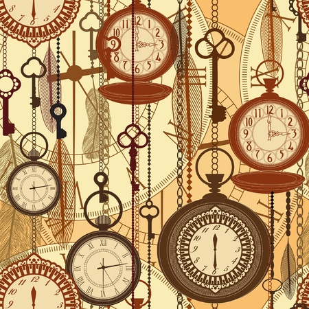 Vintage sepia seamless pattern with watches, feathers and keys Vector